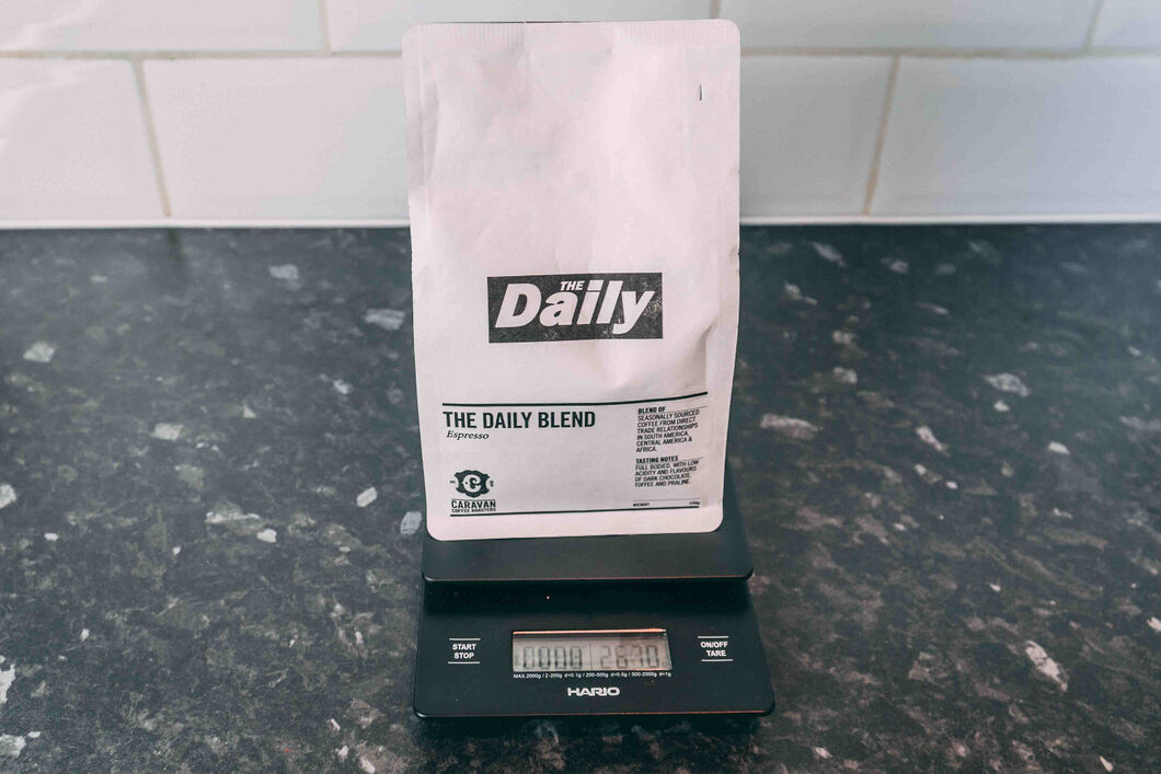 Coffee bag on a set of scales