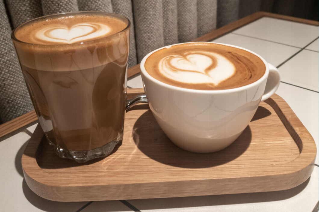 one latte and one flat white