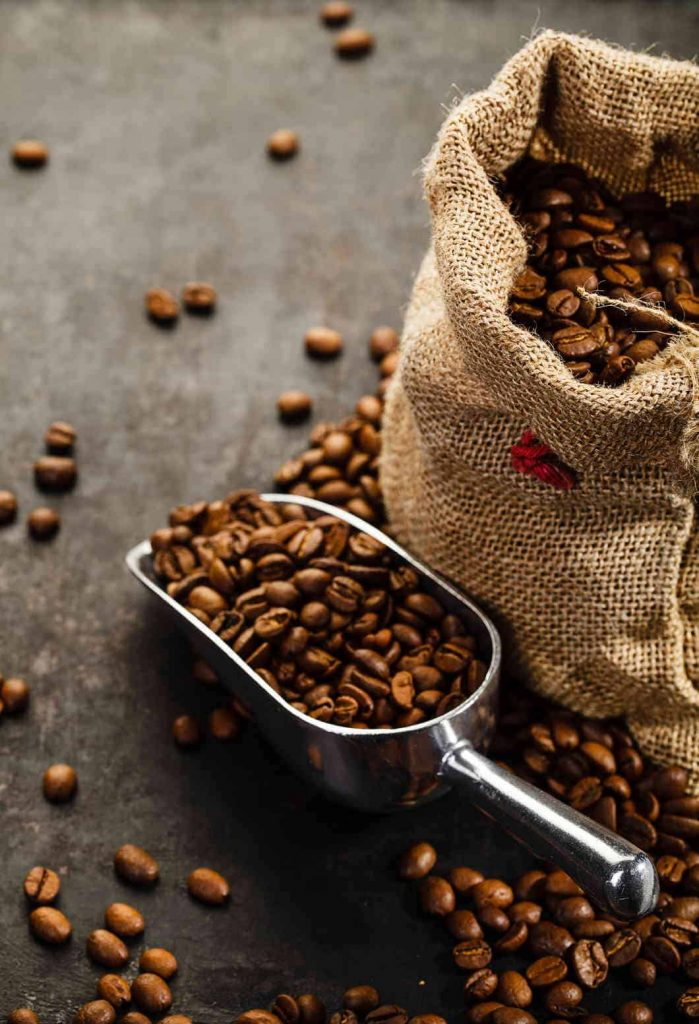 Coffee beans with a scope
