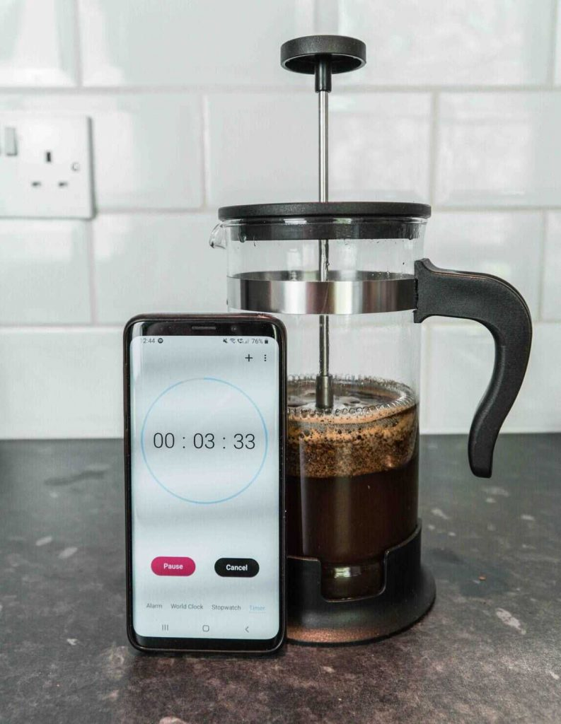 French press with a timer