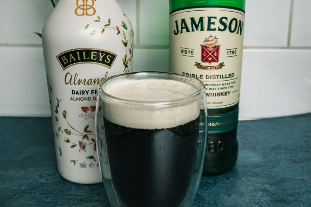 Almond Baileys and Jamersons with an irish pour over coffee with baileys cream.