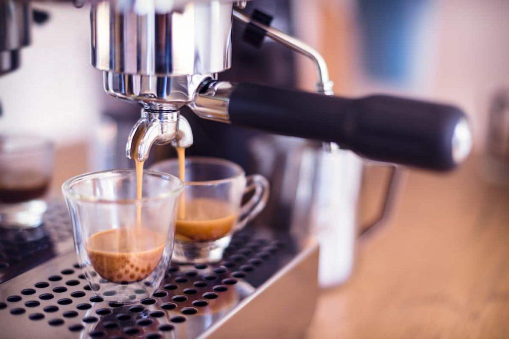 Espresso machine producing a shot of espresso.