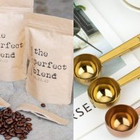 Left: GiveItPretty Perfect Blend Coffee Favor Bag Right: DyrCo Custom Coffee Spoon with Clip Personalized Coffee Scoop