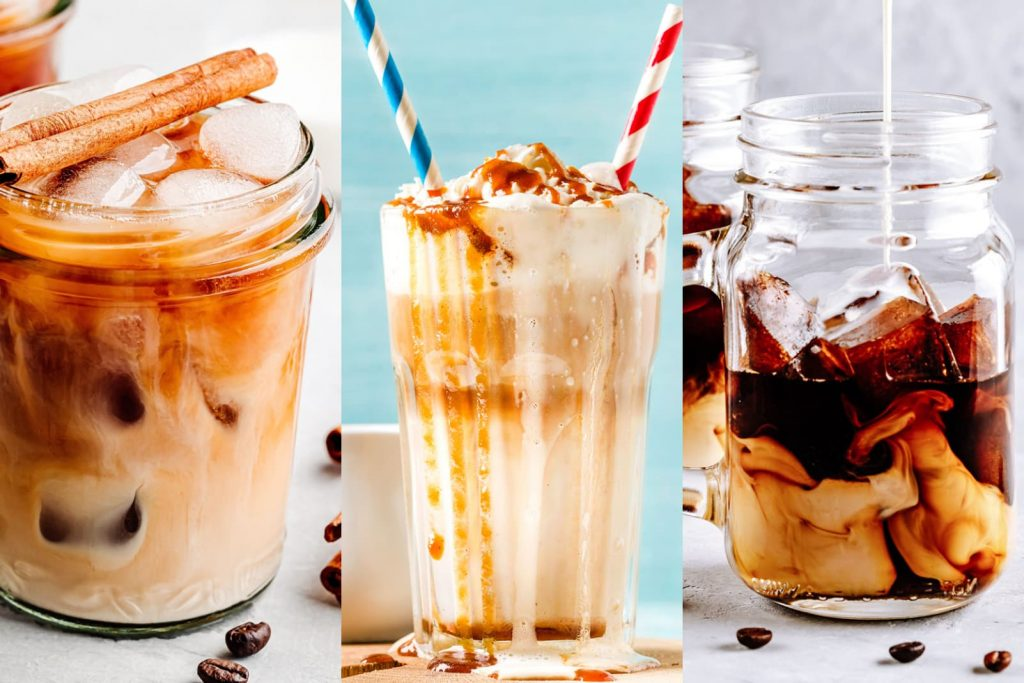 Three iced coffee drinks, left cinnamon latte, middle, caramel iced coffee and right thai iced coffee.