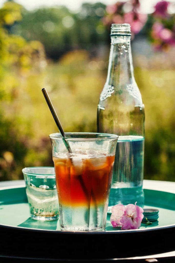 Iced coffee tonic cocktail