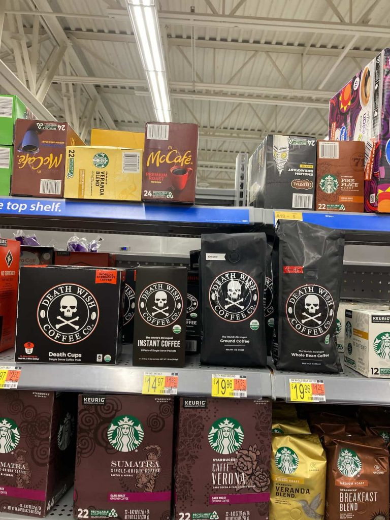 Death Wish Coffee on the shelves in a store