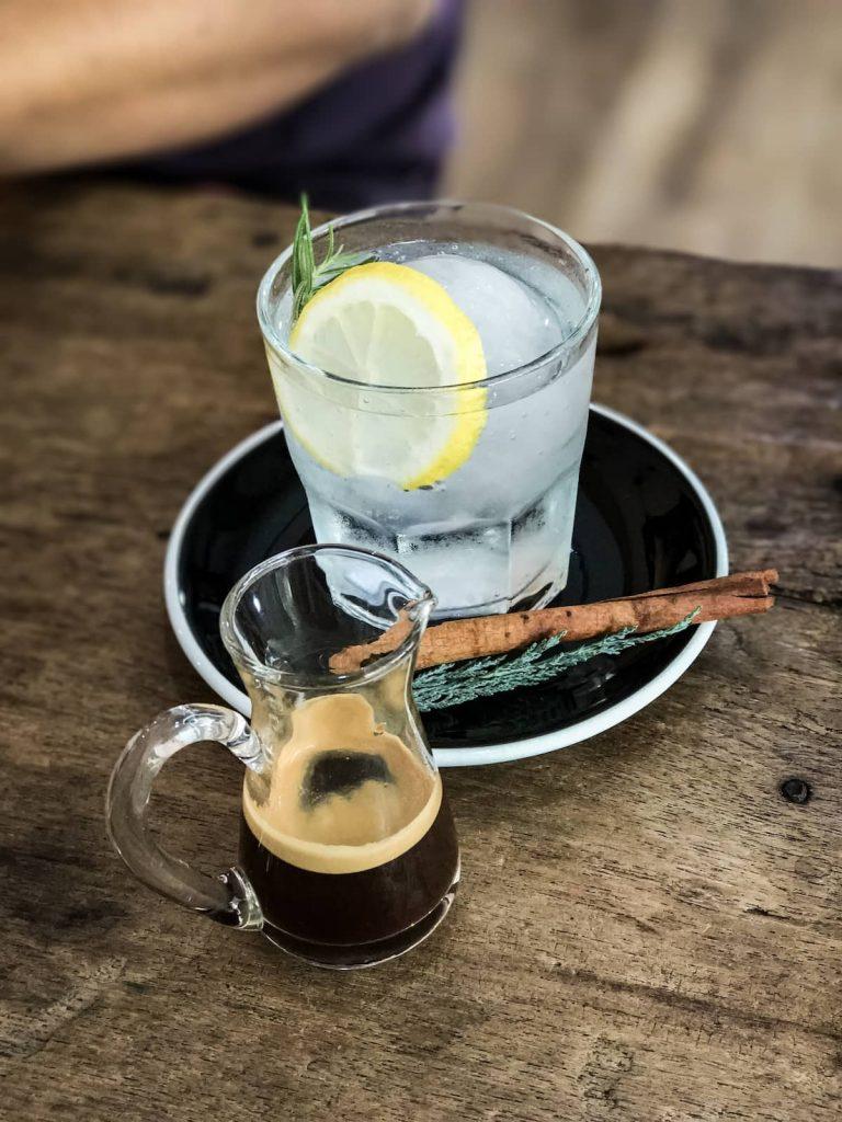 Espresso with lemon soda