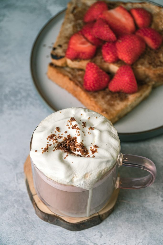 French Toast Latte with French Toast and Strawberries