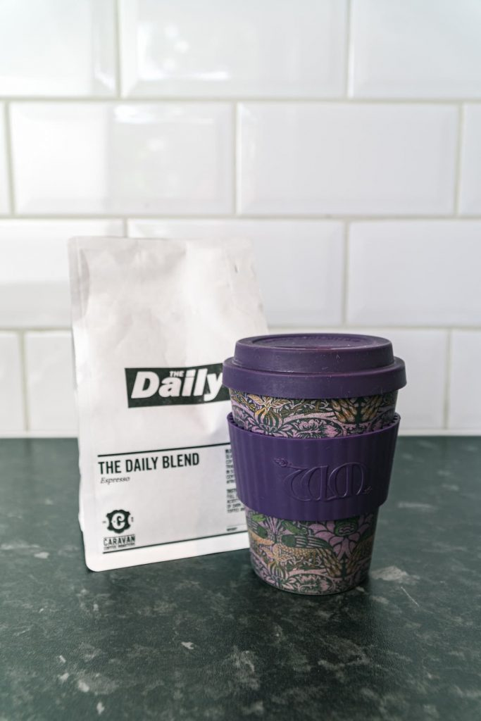 Reusable cup with coffee