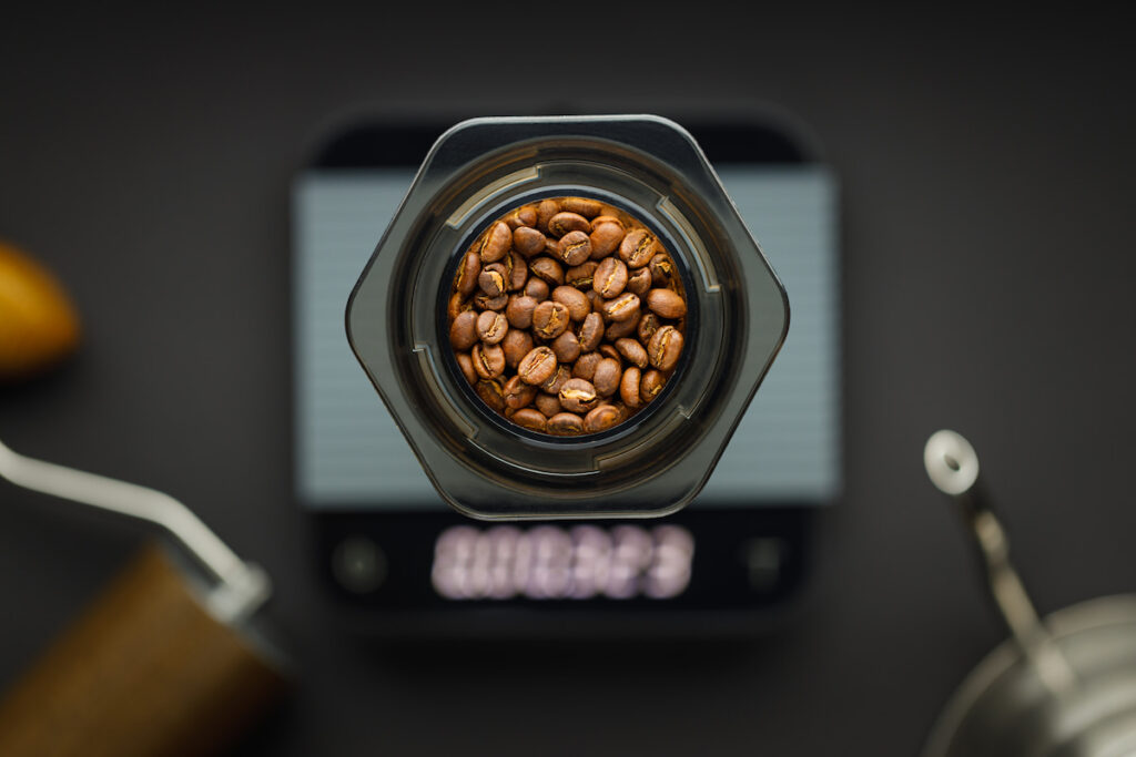 Coffee beans in an Aeropress