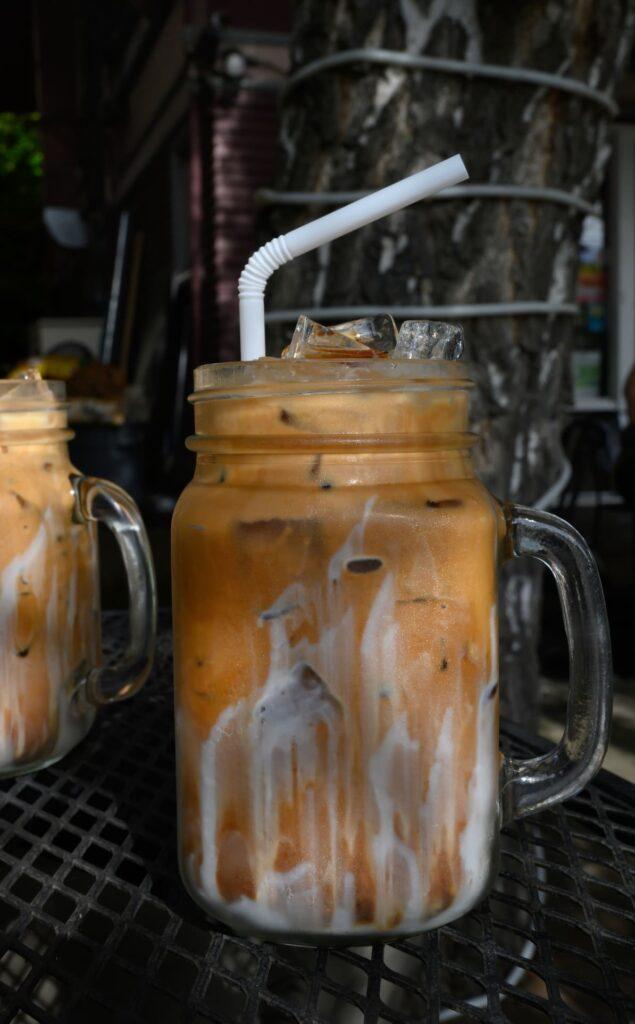 Thai coffee in drinking jar